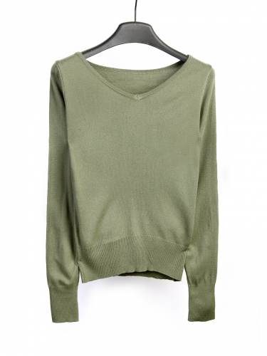 long sleeve V-neck thin knit thin sweater for woman's