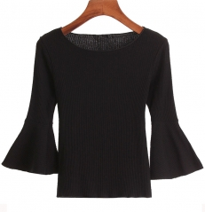 nine length sleeve pure knitting flare sleeve tops