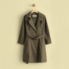 v-neck ladies loose long coat double with  botton ,pocket and belt light outer long jacket