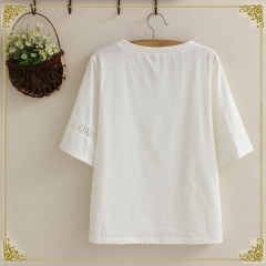 Embroidery add five length blouse embroidery t-shirt