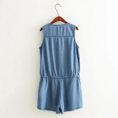 denim over all-in rompers classic half length pants with riboon