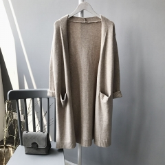 Long cardigan long sleeve knitting v-neck ladies tops for winter