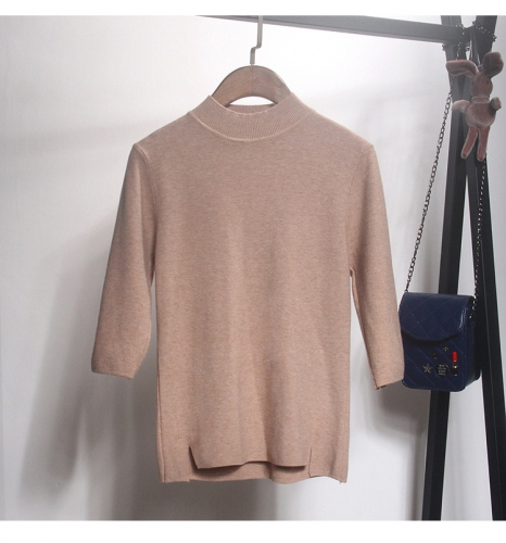Roll neck ladies knitting thin sweater  u-neck seven length sleeve tops