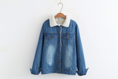 washing effect  outstanding ladies denim for winter Hairy inside warm coat